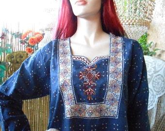Vintage Embroidered  India Maxi Dress  Dress Sz M