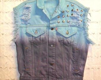 Vintage LEVIS Ombre Hand  Dyed Denim Vest -Studded  ---Size Medium-- Large