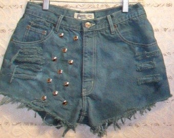 Vintage High Waisted Hand Dyed Dark GREEN  Denim Shorts - Studded Waist 29 inches