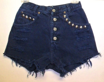 Vintage High Waisted  Button Fly  Denim Shorts ---- Studded--- -Waist  24  inches