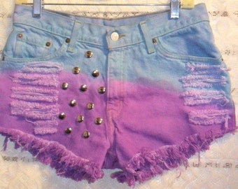 Levis 517  Hand Dyed Studded  Shorts -  Sz 10/11