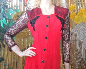 Vintage 80's Red Blouse With Black/Red Sheer Lace Sleeves Sz Small