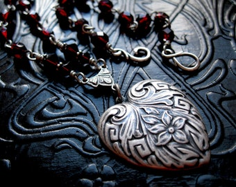 Art Nouveau Heart Rosary Necklace in Silver and Blood Red. Mucha inspired. My Feral Valentine