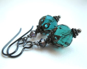 Gothic Bauble Earrings. Niobium for Sensitive Ears. Crystal Lanterns. Custom Colours. MADE TO ORDER