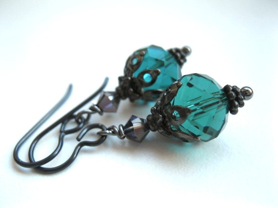 Gothic Bauble Earrings. Niobium for Sensitive Ears. Crystal Lanterns. Custom Colours