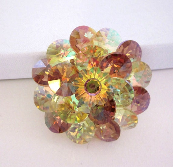 Crystal Vintage Brooch, Rivoli Gold, Yellow, Topaz Crystals Gorgeous Gift For Her - Vintage Fashion Jewelry - JryenDesigns