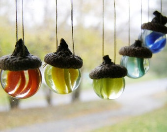 ONE Acorn Vintage Glass Marble Ornament for Christmas Fall Sun Catcher German Tradition Graduation New Beginnings Wedding