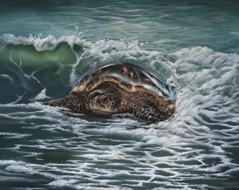 "Sea turtle painting  ""Moonlit Surf"" 20 x 24 original acrylic on stretched canvas"