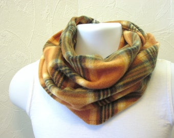 Man's Fleece Infinity Scarf Autumn Neck Warmer in Burnt Orange and Brown Plaid in Double Loop Length