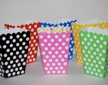 Treat Boxes - polka dot popcorn boxes ( 24 count) - party box - candy buffet treat box snack box gift box  - YOU PICK COLORS