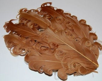 Curly Feather Pad -  Caramel Light Brown  FP233 - (1 pc)