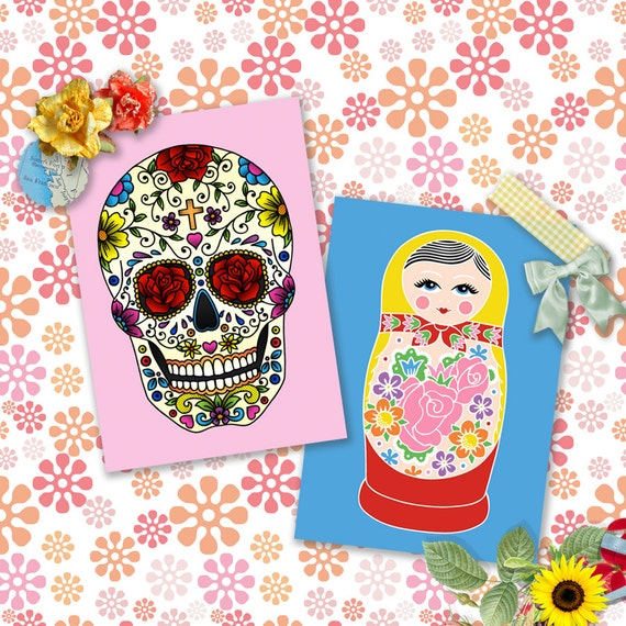 Folk Art Postcard Double Pack