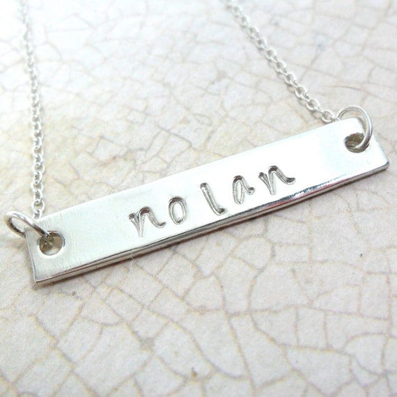 Name Necklace - Horizontal Bar - Sterling Silver Bar - Handwriting Font - Custom Handstamped - Personalized Gift