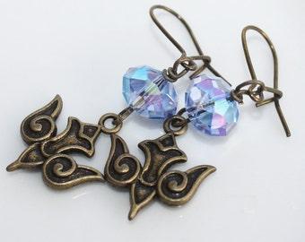 Bird Earrings - Blue Crystal Beads - Antiqued Brass Earwires, brass earrings, bird jewelry, dove earrings, dove jewelry, blue earrings