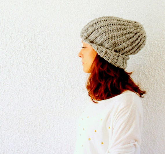 Gray handknit Chunky Hat beanie Handmade gifts Under 50