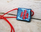mao - ooak handmade clay pendant, hot red and blue
