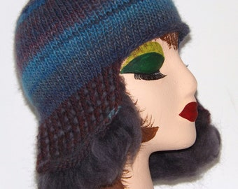 Thrummed Knit Hat in Self Striping Yarn with Ear Flaps in shades of Blue and Purple