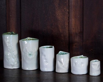 Set of Six Slab Rolled Bud Vases