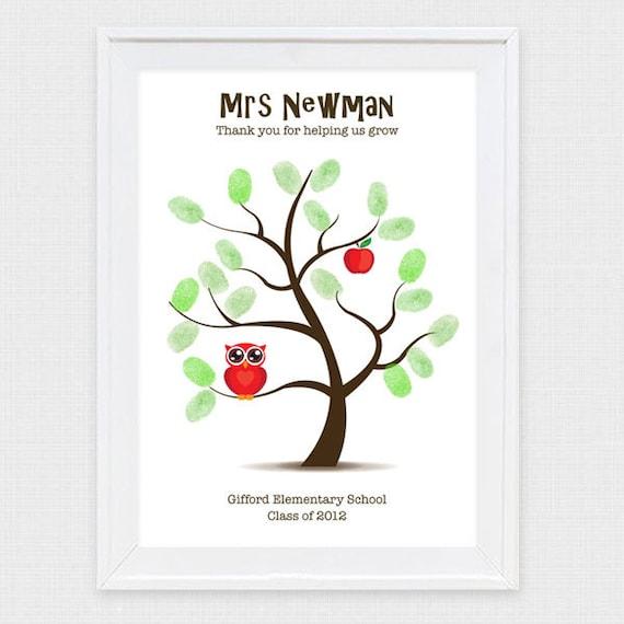 Thanks For Helping Me Grow Quotes: Teacher Appreciation Fingerprint Tree Printable File By IDIYjr