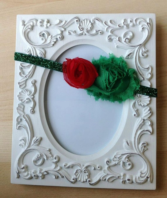 "Baby headband CHRISTMAS  ""MISTLETOE "" Sparkle Headband in Red and Green. NB- Teen sizes."