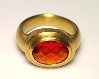 Fire opal gold ring, gemstone ring, statement ring, solitaire ring, checkerboard cut, 18K yellow gold, (fire opal sold separately)