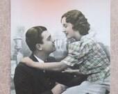 Vintage French postcard Couple Caption