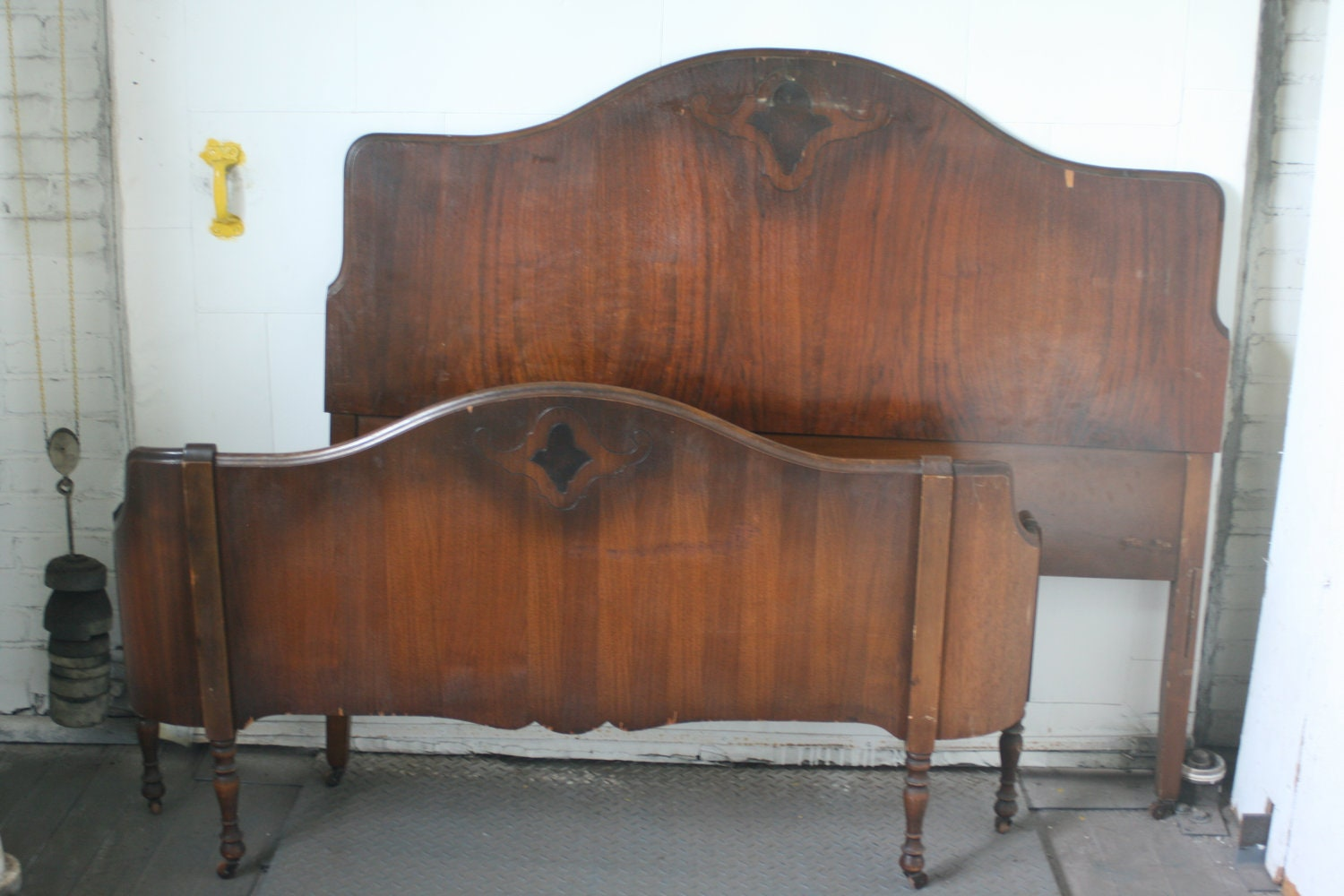Items similar to antique wooden bed frame shabby chic