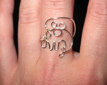 Wire Wrapped YOUR NAME Mickey Mouse Ring MADE to Order