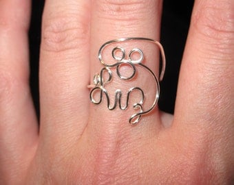 wire wrapped your name mickey mouse ring made to order - Mickey Mouse Wedding Ring