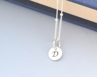 Personalized Jewelry - Silver Necklace - Customize Hand Stamped Disc - Initial Necklace