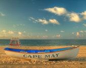 Cape May Morning Beach Color Photography Ocean New Jersey Shore Boat Beach Decor Sand Blue Sky Sand Home Decor Wall Art Print