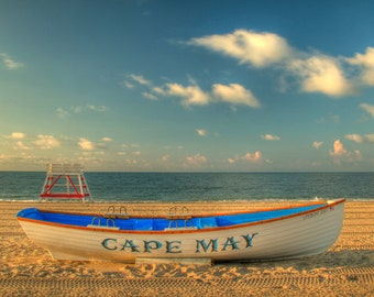 Cape May Morning Beach Color Photography Ocean New Jersey Shore Boat Beach Decor Sand Blue Sky Sand Home Decor Wall Art Print