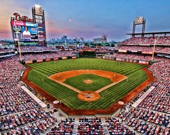 Philadelphia Phillies, Citizen's Bank Park, Color Photograph, Baseball Stadium, Sports, Art Print, Man Cave, Twilight, Home Decor, Blue
