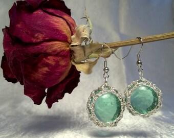Seafoam Green Florist Marble Earrings
