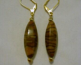 brown zebra stone earrings