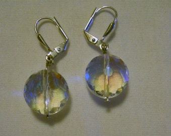 clear faceted crystal puffed flat round earrings