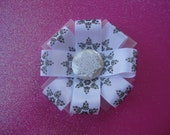 Christmas Accessories, Snowflake Bow, Pink Glitter bow, Snowflakes