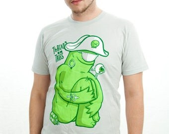 Men Tshirt Silver American Apparel Green Monster T shirt XS LargeNautical Pirate Tee
