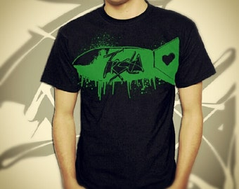 Cheap Graphic Tee - Green Graffiti Bomb Ink Slatter in S M L XL