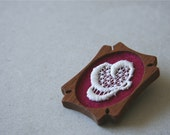 White Vintage Lace on Sugar Plum Red Felt Wooden Brooch, Lace and Mahogany Series