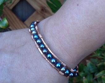 Wire Wrapped Copper Bracelet, copper bracelet, beaded bracelet, copper bead bracelet, wrapped bracelet, handmade wire and bead bracelet
