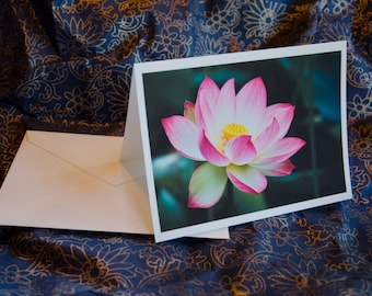 "One single 5 1/2 x 7 3/8 Blank Photo Notecard with Envelope, ""Lotus"""