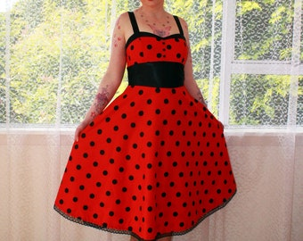 Pin Up Red  Dress with Black Polka Dots, Sweetheart Neckline and Black Trim 'Ladybird'  - Custom made to fit