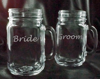 Bride and Groom Mason Jar Mugs - Rustic Redneck Wine Glass
