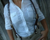 Western Style Leather Suspenders