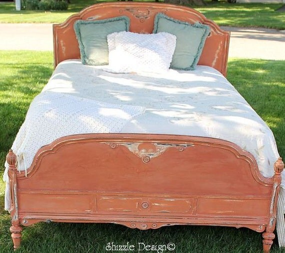 Beautifully Hand Painted Antique Bed