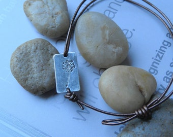 WISH UPON a DANDELION 925 Sterling Silver Filled Small Rectangle (15mm  x 8.5mm) Leather Bracelet
