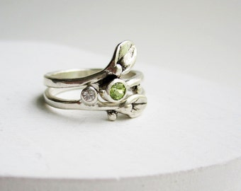 Leaf Ring, Set of 2 Rings, Small Leaf Silver Rings with Peridot and White sapphire