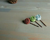 Brown, Green and Blue Flower Bobby Pins  . Gifts for Her . Ready to Ship . by ponyupdesigns