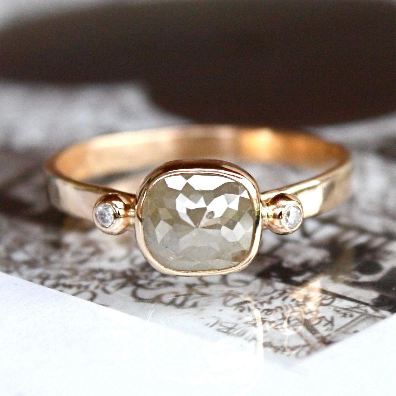 Diamond Ring Rose Cut Diamond Slice In 14k Gold Engagement